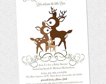 Printable Deer Family Baby Shower Invitation, Woodland, Elegant, Winter, Fall, Couple's, DIY digital file