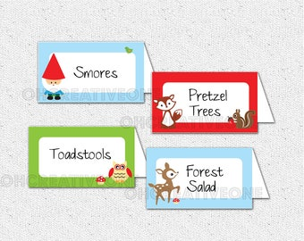 Woodland Creatures Animals Gnome, Fox, Deer, Mushroom, Place Buffet Cards, Blank, You Fill Out, DIY Digital File