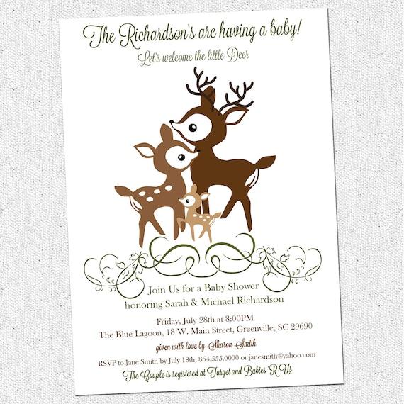 Family Baby Shower Invitations: Printable Deer Family Baby Shower Invitation Woodland