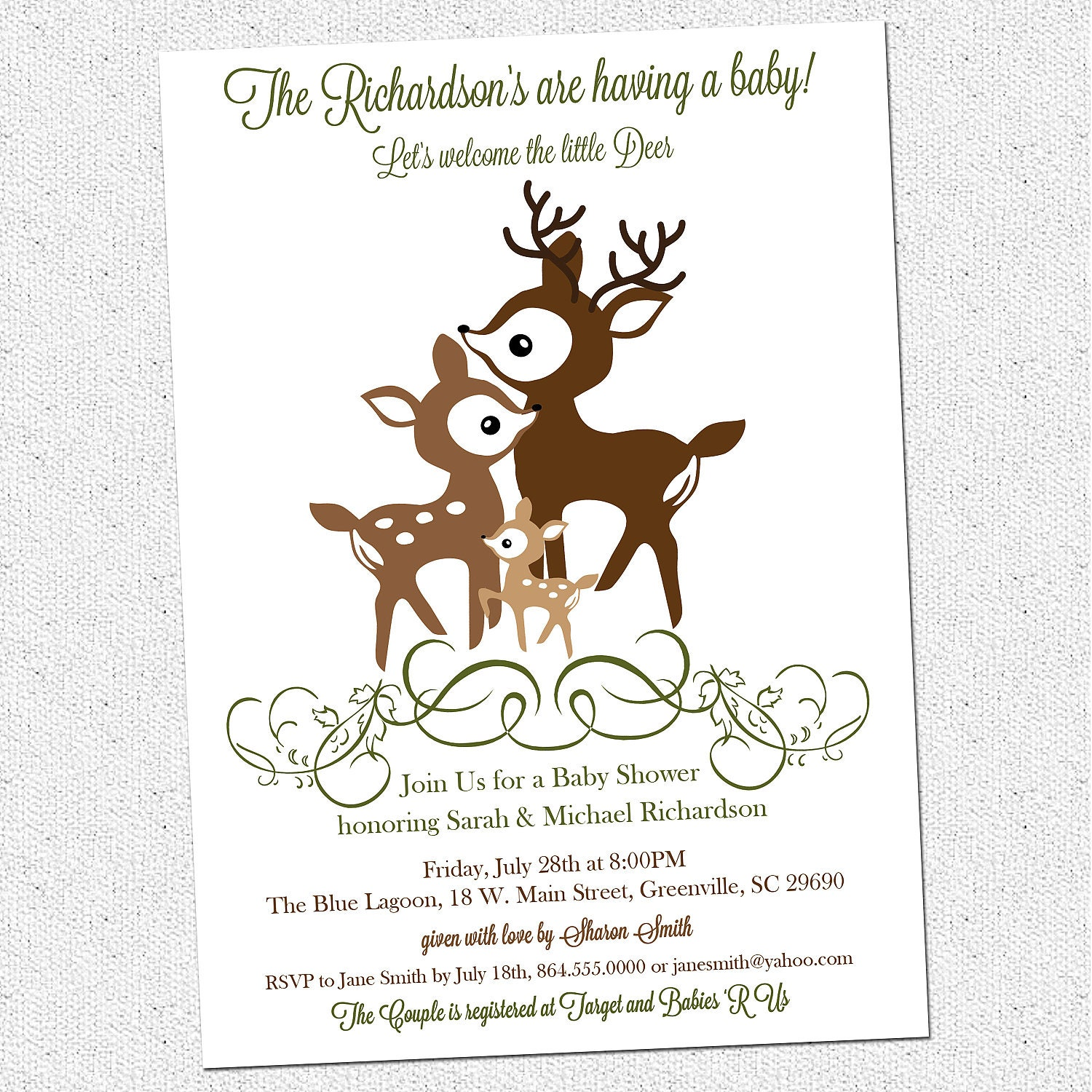 printable deer family baby shower invitation woodland