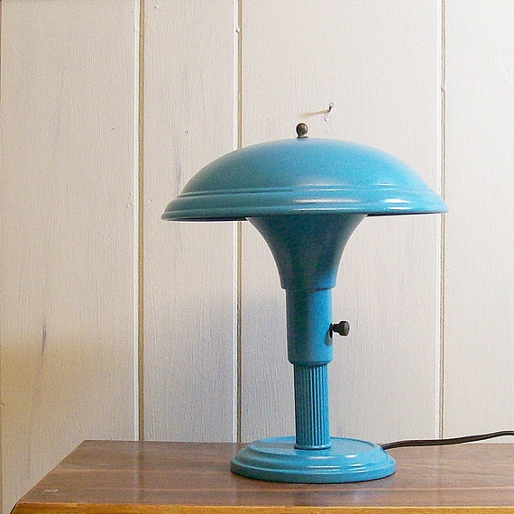 SALE Vintage Mushroom Desk Lamp Upcycled Turquoise
