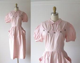 vintage 1950s dress / 50s dress / Pink Cutie