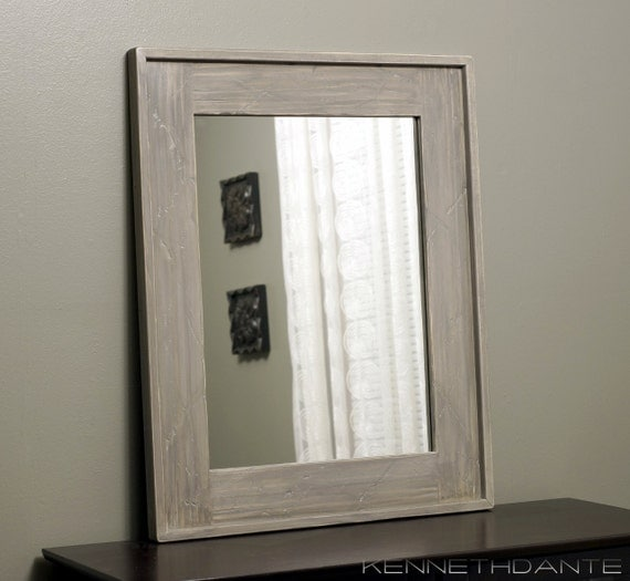 Modern Rustic Mirror Distressed Wood Taupe Grey By