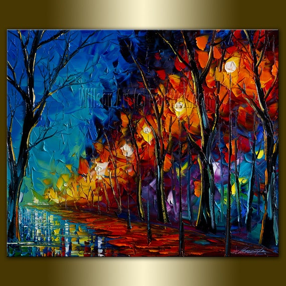 Original Textured Palette Knife Landscape Painting Oil on Canvas Contemporary Modern Art Rainy Night 20X24 by Willson Lau