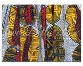 SALE: Set of 2 Betty Buckinghamshire postcards of African wax print fabric.