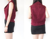 SALE  - Vintage Maroon Burgundy Scalloped Edge Crunchy Knit Sweater Vest with Wooden Button
