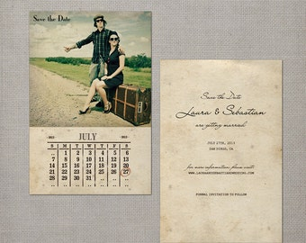 """Calendar Save the Date Card, 4x6, Save the date card, the """"Laura"""""""