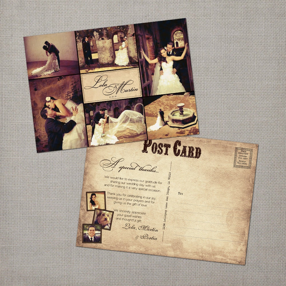 Rustic vintage wedding thank you collage cards 5x7 thank you for Thank you cards for wedding