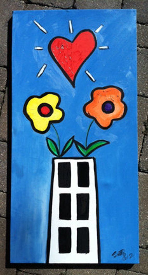 """Urban Pop  Art Painting """"Funky Heart with Flower Angels"""""""