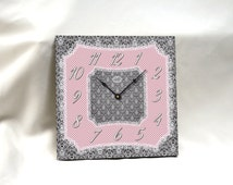 PARIS: 13in Square Wall Clock with Vintage Lace & Dots in Gray, Pink, Green, Violet, Blue. Vintage. Nursery Decor. Custom. Bridesmaid Gift