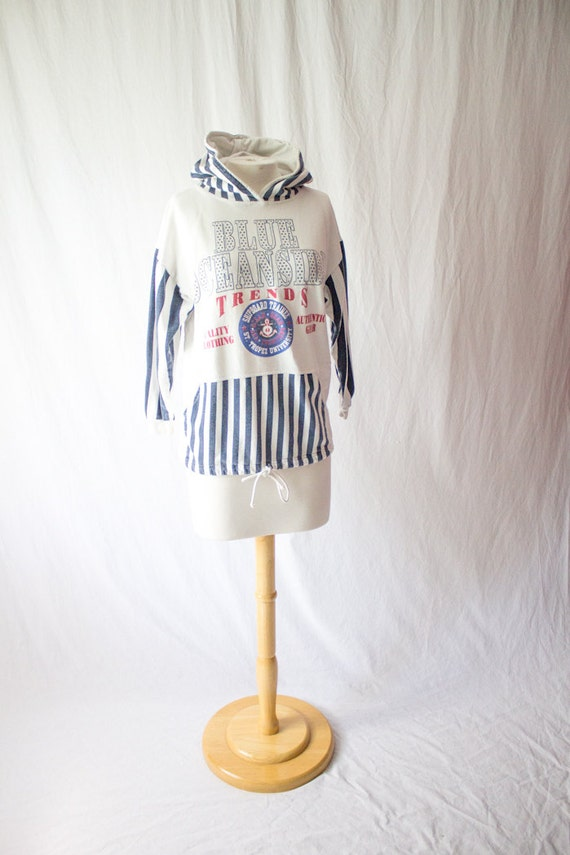 womens nautical sailor style hoodie size medium
