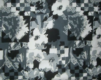 Black White and Gray Artistic Floral Collage Print Stretch Cotton Sateen Fabric--One Yard