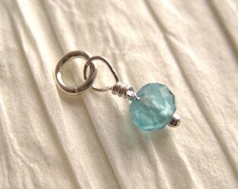 Faceted Light Caribbean Blue Apatite  Gemstone Dangle Charm