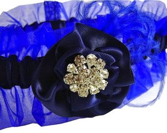 Royal Cobalt Blue and Navy Wedding Garter with Swarovski Crystal Center Perfect Something Blue