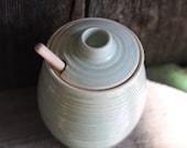 Pottery Honey Pot - Grooved Seafoam Green Ceramic Pot
