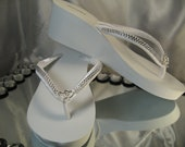 White Flip Flops or Ivory Flip Flops with sparkling Rhinestone and Heart Design