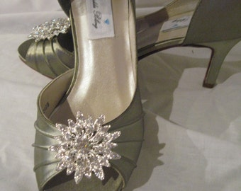 Wedding Shoes Sage Green Wedding Shoes  Bridal Shoes with Rhinestone Flower Burst Additional 100 Colors To Pick From