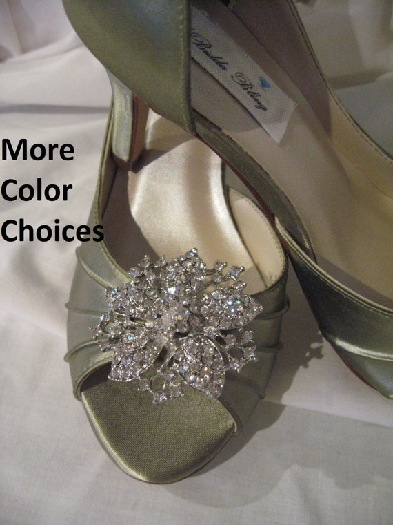 Items Similar To Wedding Shoes Peep Toe Sage Green And Crystal Flower 100 C