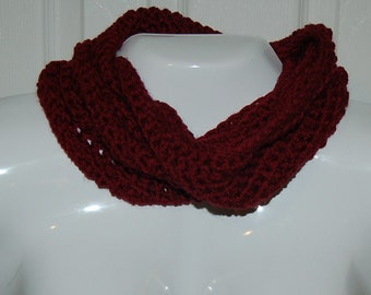 Cowl deep red infinity scarf