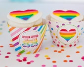 Rainbow Party Cupcake Wra...
