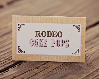 Cowgirl Party Food Labels/Tents - Printable