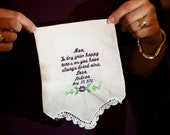 Personalized Handkerchief - Parent Wedding Gift - Mother of the Bride Gift -  Mother of the Groom Gift - Grandmother Gift