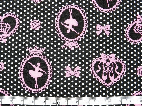 """Cotton fabric - Ballet dancing - black - half yard - cotton, Check out with code """"sale15"""" to save 15% off"""