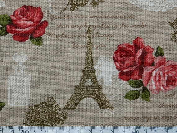 """France Paris and vintage rose - 3 colors - half yard - cotton linen  , Check out with code """"5YEAR"""" to save 20% off"""