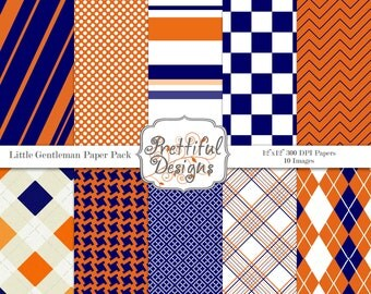 Blue and Orange Digital Paper pack for Personal or Commercial Use - Little Gentlemen