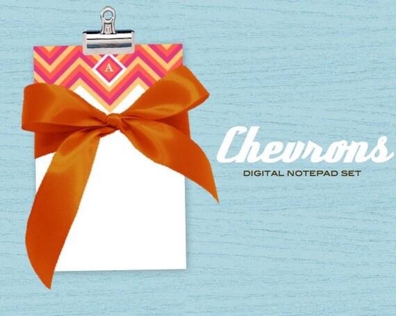 Printable PDF Notepads - Summer Splash Chevron DIY Printable PDF notepad set Custom Initial