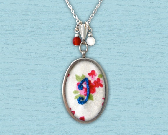 Initial Embroidered Necklace - Custom Monogram Letter Hand Embroidered Pendant with Chain -  Hearts & Bows Floral Pattern