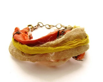 Bohemian Yellow and Orange Sari Silk Bracelet with Hammered Brass Chain and Copper Key Charm, Primitive Jewelry