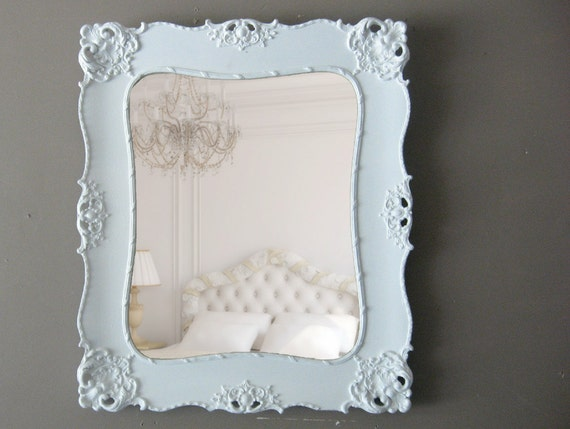 "Antique Framed Mirror, Shabby Chic White Mirror, Ornate Mirror, 26"" X 22"""