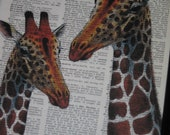 BOGO SALE Giraffe Art Print Giraffe Dictionary Print Giraffe Book Art Print Upcycled Vintage Dictionary HHP Original Design Giraffe Couple