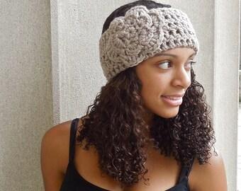 Crochet Headband, Flower Headband, Ear Warmer,Adult, Crochet, Taupe, Women,Teen, Chunky