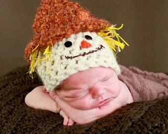 Crochet 0-6 Month Scarecrow Hat - Photography Prop - Made to Order