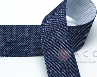 5Yards 25mm(1'') Blue Denim Solid Grosgrain Ribbon