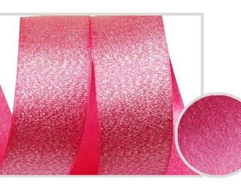 5Yards  Metallic Sparkle Cherry Pink Satin Ribbon - 15mm(5/8''), and 25mm(1'') - Glitter Ribbon