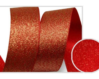 Metallic Sparkle Red Satin Ribbon - 15mm(5/8'') , and 25mm(1'')