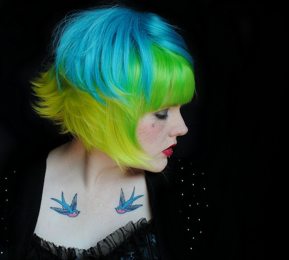 SOUR GREEN APPLE wig // Halloween Green Yellow Turquoise Blue Hair // Cosplay Punk Scene Flippy