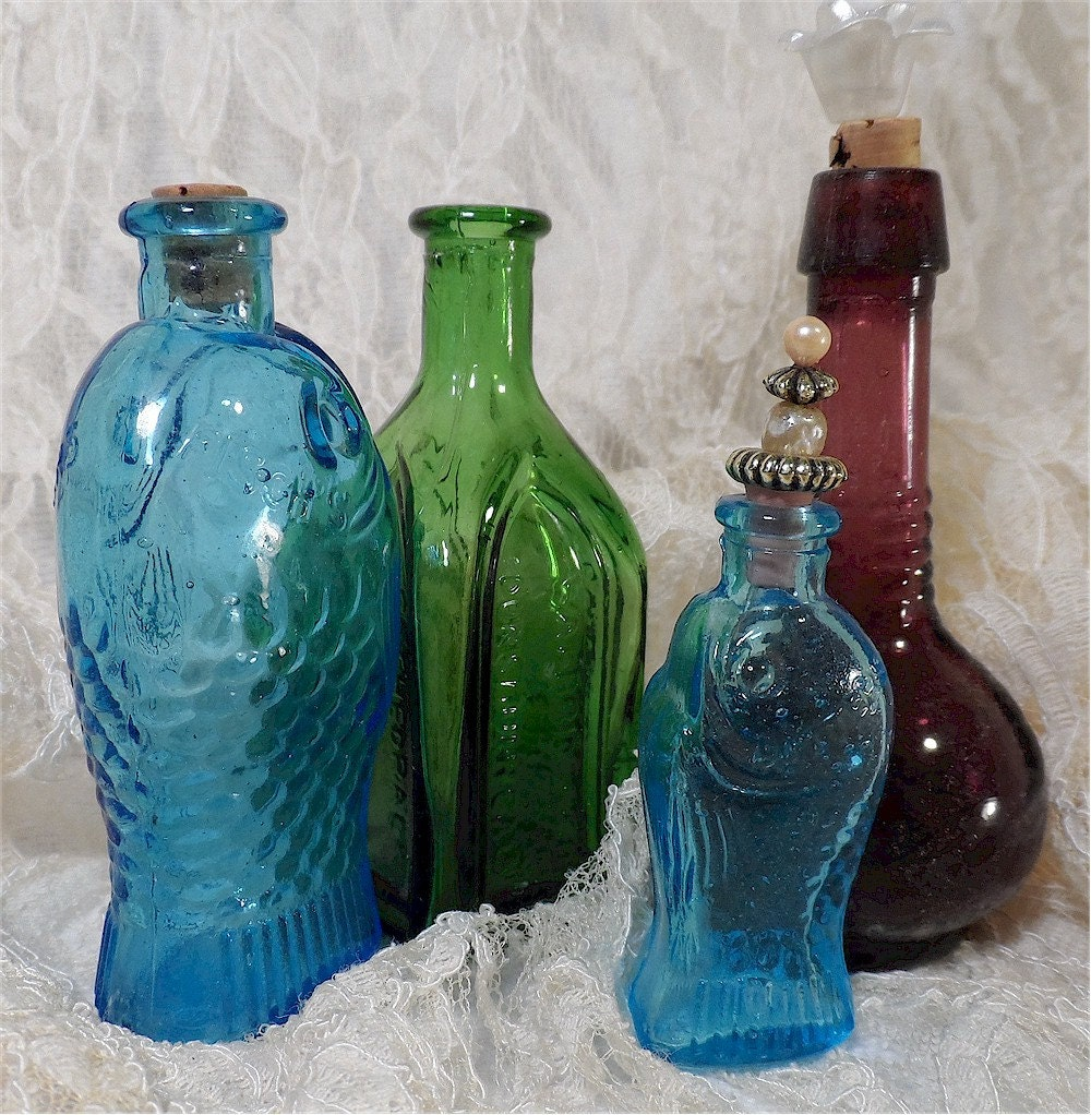 miniature colored glass bottles 2 fish shaped by olderrose