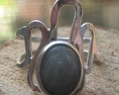 Vintage Sterling Silver Hand Crafted Ring withOval Moonstone Size 5 Ladies Ring