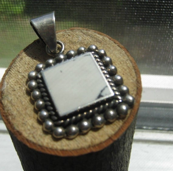 Vintage Mexico Sterling Silver Ladies Pendant Victorian Style with White Turquoise Stone RESeRved for CHRISTINE