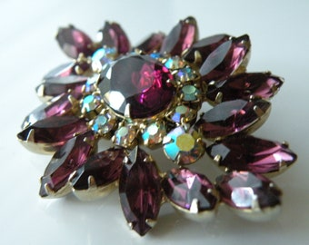 DeLizza and Elster Inc. Juliana Flower purple rhinestones brooch pin