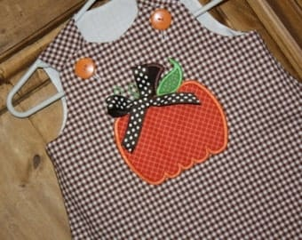 Girls Aline dress with pumpkin and bow