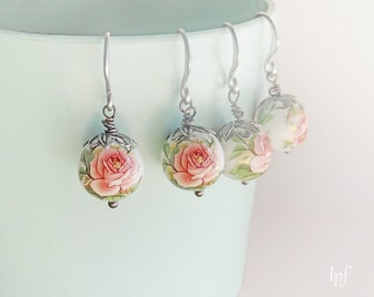 Rose earrings. Kyoto Gardens. Japan tensha beads floral romantic earrings, gift under 20