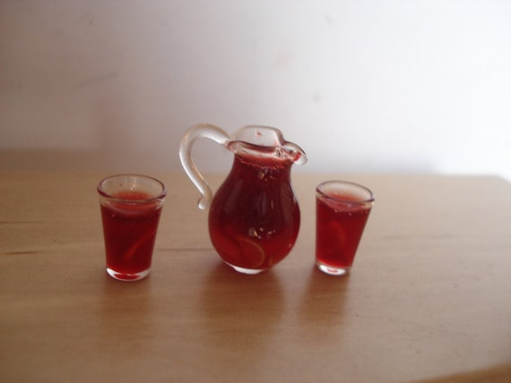 Miniature sangria jug and glasses