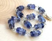 Iolite Bracelet Sterling Silver Wire Wrapped Bracelet, blue chunky gemstones, september birthday