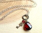Garnet & Key Pendant Necklace, Key to Her Heart, Red Teardrop Charm Necklace, Sterling Silver