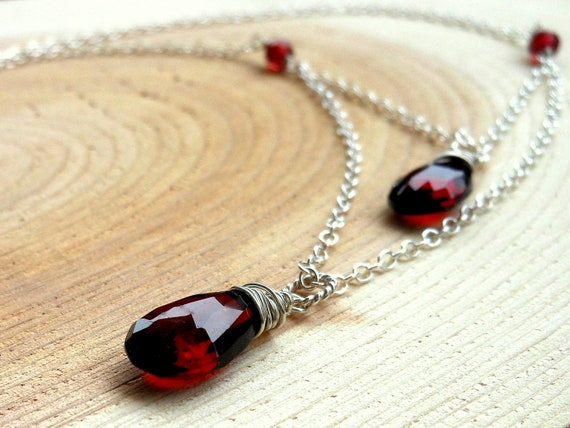 Tiered Garnet Necklace, Two Strand, Red Gemstone Necklace Sterling Silver